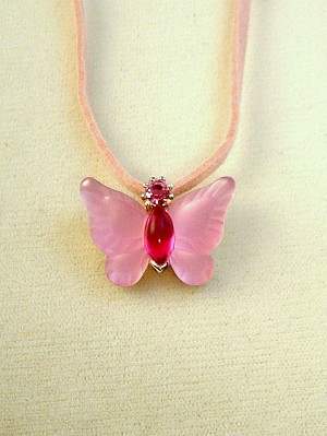 Pink Butterfly Pendant Necklace, Genuine Austrian Crystals, Leather Cord, Anti-allergic Jewelry