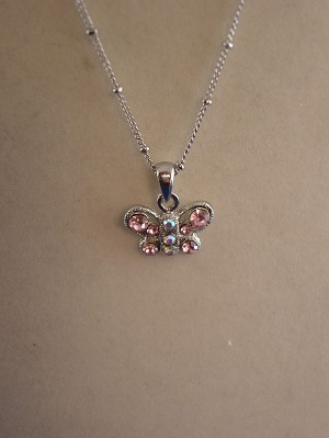 "Pink Cubic Zirconia Butterfly NeckLace, CZ Crystals, Sterling Silver Plated 16"" Chain, Anti-allergic Jewelry"
