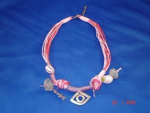 Pink Evil Eye Necklace, Natural Stones, European Fashion Jewelry