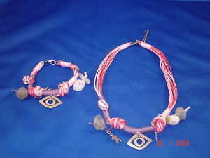 Pink Evil Eye, Set of Necklace & Bracelet, Protects from Evil Spirit, European Fashion Jewelry
