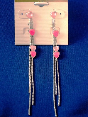 Pink Hearts Long Chain Post Earrings, Silver Tone Anti-allergic Metal