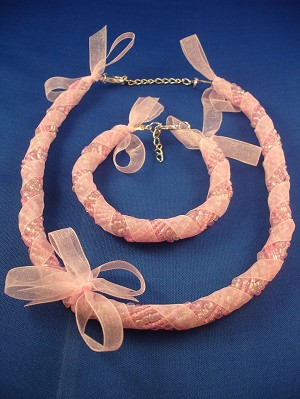 Pink Ribbon Set of Necklace & Bracelet, Eight Twisted Strings of Beads, European Fashion Jewelry