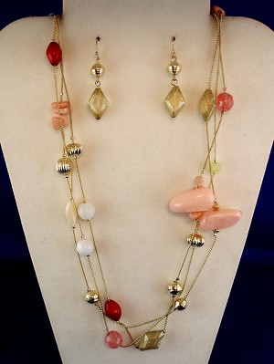 "Pink Set of 62"" Chain Necklace & Earring, Stained Glass & Genune Stones, Anti-allergic Jewelry"