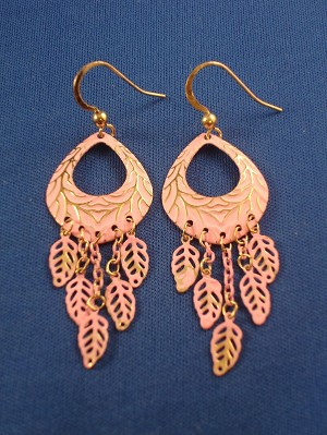 Pink Tree Ornament & Leaf Charms Dangling Earrings, Gold Tone Anti-allergic Metal