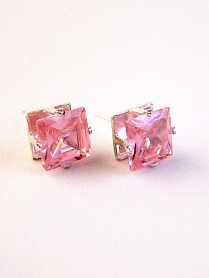 Pink Zircon Princess Cut Silver Stud Earrings Genuine CZ Cubic Zirconia