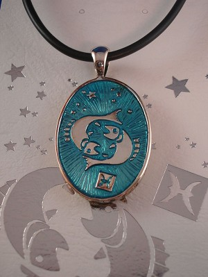 Pisces Symbol Zodiac Sign Necklace, Reversible Metal Pendant w/ Side Engraving