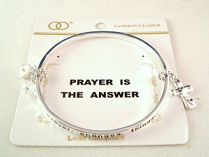 """Prayer is the Answer"" Inspirational Stretching Bangle Bracelet, Cross Charm, Silver Finish Metal, Anti-allergic Jewelry"