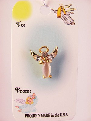 Praying Guarian Angel Pin, Austrian Crystals