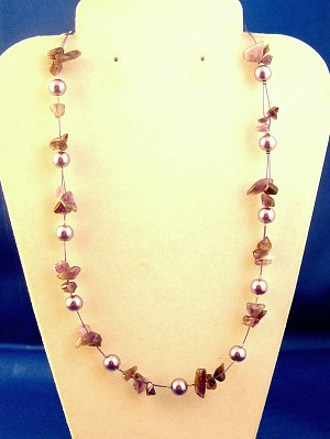 Purple Necklace, Two Layers of Genuine Shells & Artificial Pearls, Fashion European Jewelry