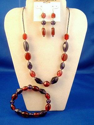 Purple, Red & Pink Stained Glass Beads Set of Necklace, Bracelet & Earrings, Anti-allergic Jewelry