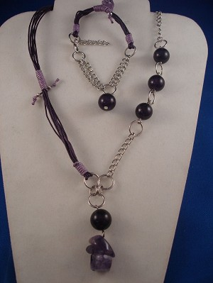 Purple Set of Necklace & Bracelet, Black Sea Genuine Stones, Chain, Cotton Cord