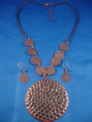 Queen Elizabeth II Coin Hammered Pendant Set of Necklace & Earrings, Antique Style,  Dark Brown Color