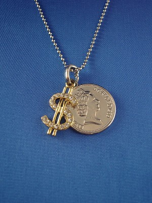 "Queen Elizabeth II One Penny & Cubic Zirconia Diamond Gold Dollar Sign Pendant, Silver Tone 16"" Chain Necklace"