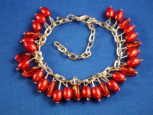 Red Berry Charms, Silver Tone Metal Bracelet, Anti-allergic Jewelry