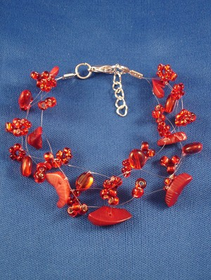Red Coral Contemporary Bracelet, Genuine Stones & Beads