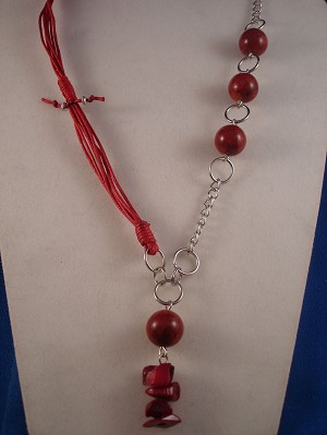 Red Coral Necklace, Genuine Stones, Cotton & Chain