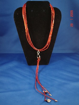Red Genuine Leather, Beads & Charms Necklace, European Fashion Jewelry