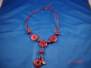 Red Genuine Leather, Ceramic Beads & Cooper Charms Necklace, European Fashion Jewelry