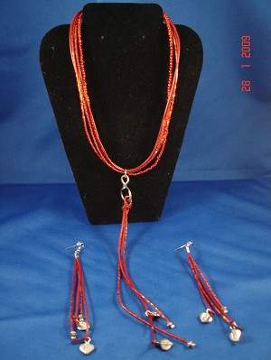 Red Leather, Beads, Metal Charms Set of Necklace & Earrings, European Fashion Jewelry