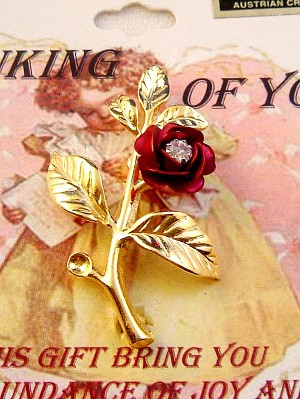 Red Rose Pin, Genuine Austrian Crystal, Gold Finish Metal