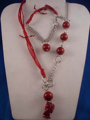 Red Set of Necklace & Bracelet, Black Sea Genuine Stones, Chain, Cotton Cord