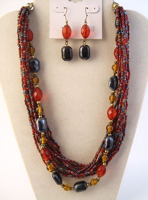 Red & Smokey Blue Multi-Layers Beads Necklace Earrings Jewelry Set