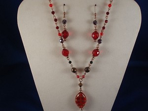 Red Stained Glass Set of Oval Pendant Necklace & Earrings, Non-Allergic Jewelry