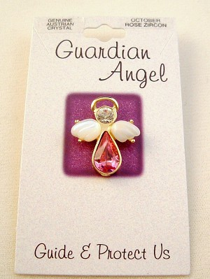Rose Zircon-October Birthstone Guardian Angel Pin, Genuine Austrian Crystals, Gold Finish Metal