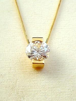"Round Cut CZ Cubic Zirconia Clear Diamond Pendant, 16"" Gold Tone Chain Necklace, Anti-allergic Jewelry"
