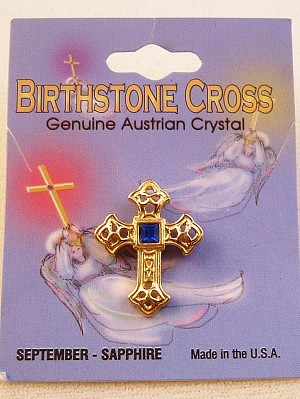 Sapphire-September Birthstone Cross Pin, Genuine Austrian Crystal, Gold Finish Metal