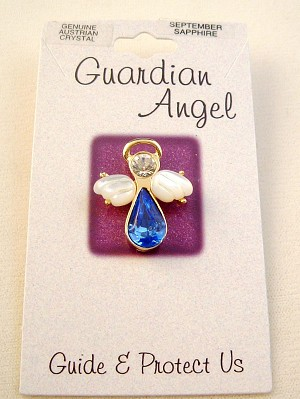 Sapphire-September Birthstone Guardian Angel Pin, Genuine Austrian Crystals, Gold Finish Metal