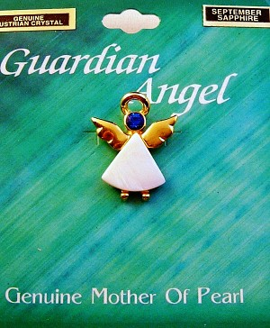 Sapphire-September Birthstone Guardian Angel Pin, Genuine Mother-of-Pearl & Austrian Crystal