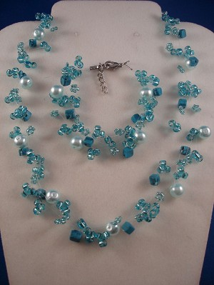 Set of Necklace & Bracelet, Three Layers of Sky Blue Beads, Artificial Pearls & Genuine Stones, Fashion European Jewelry
