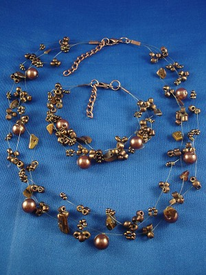 Set of Necklace & Bracelet, Three Layers of Tiger Eye Beads, Artificial Pearls & Genuine Stones, Fashion European Jewelry