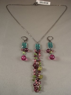 Set of Necklace & Earrings, Purple & Green Wild Berries Beads, Smoked Metal Chain