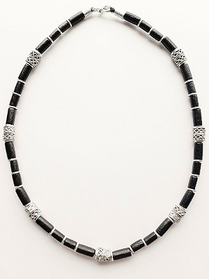 Sezam Beach Beaded Necklace, Men's Surfer Style Jewelry Black