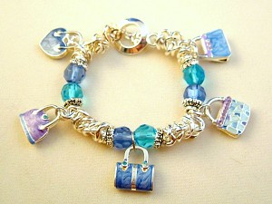 Shopping Lover Inspired Stretching Chain Bracelet, Key, Blue & Purple Fashion Bag Charms