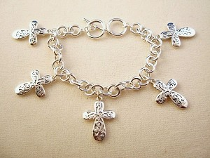 Silver Finish Metal Chain Bracelet, Five Cross Charms w/ Vintage Style Ornament, Anti-allergic Jewelry