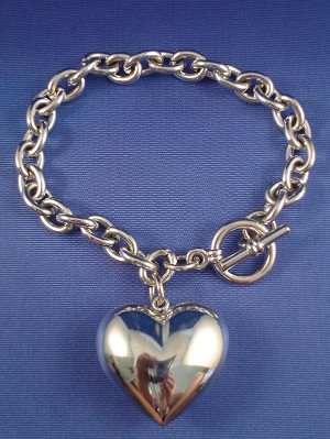 Silver Tone Heart Charm Bracelet, Chain, Anti-allergic Jewelry