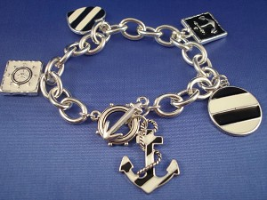 Silver/Black Tone Naval Sailing Chain Bracelet, Anchor, Wheel & Heart Charms, Nautical Jewelry