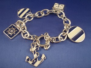 Silver/Blue Tone Naval Sailing Chain Bracelet, Anchor, Wheel & Heart Charms, Nautical Jewelry