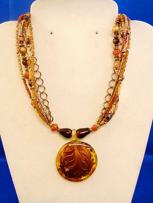 "Six Layers Multicolor Beads & Chain Necklace, 1 1/2"" Topaz Stained Glass Circle Pendant w/ Ornament, Anti-allergic Jewelry"