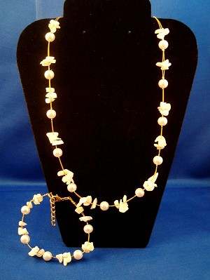 Snow White Set of Necklace & Bracelet, Two Layers of Genuine Shells & Artificial Pearls, Fashion European Jewelry