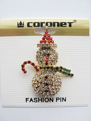 Snowman Christmas Pin, Xmas Colors Genuine Austrian Crystals