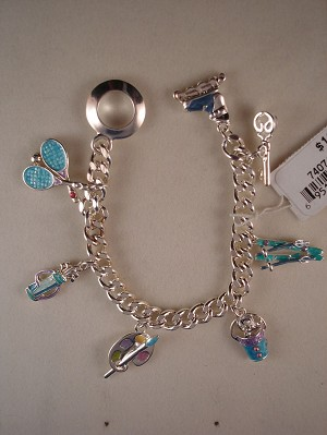 Sports & Recreation Inspired Blue Charms Bracelet, Anti-Allergic Jewelry