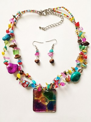 Summer Colors Glass Square Pendant Necklace Earrings Genuine Stones Beads