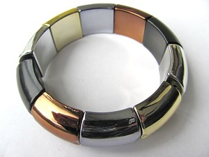 Summer Colors Black Hematite Stretching Bangle Bracelet