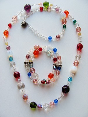 Summer Multi-Colors Glass Beads Necklace Bracelet Set