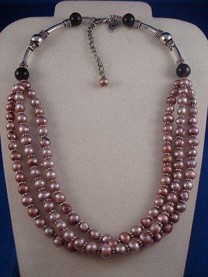 Three Layers Smoked Pink Genuine Pearls Necklace, Classic Style