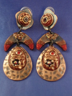 Three Pieces Red w/Copper Drop Shape Post Dangling Earrings, Anti-allergic Jewelry